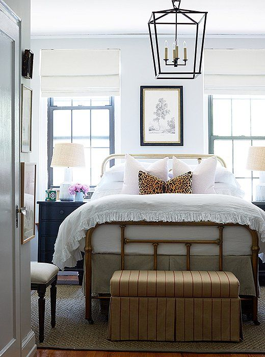 tiny bedroom big on style - love the vintage brass bed