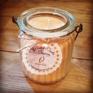 Gina Lewington makes these lovely soy wax candles delicately scented and presented in beautiful hanging jars or metal tins.