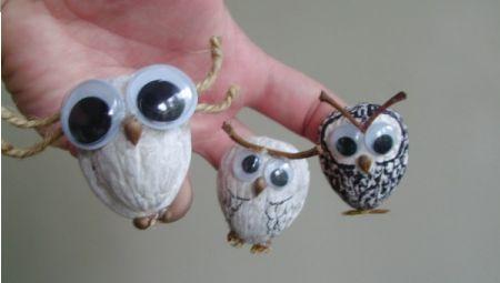 Búhos artesanales creados a partir de #nueces
