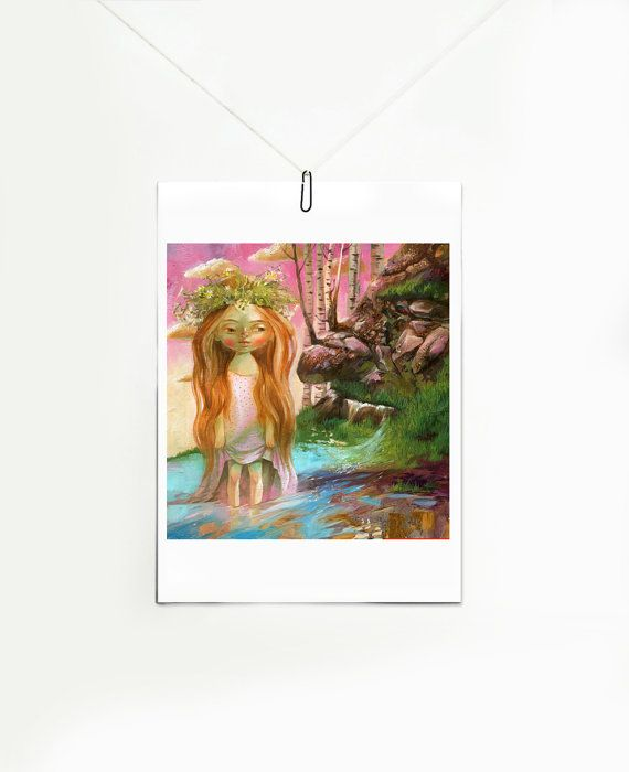 Mermaid Giclee art print on canvas of original by ArtFable on Etsy