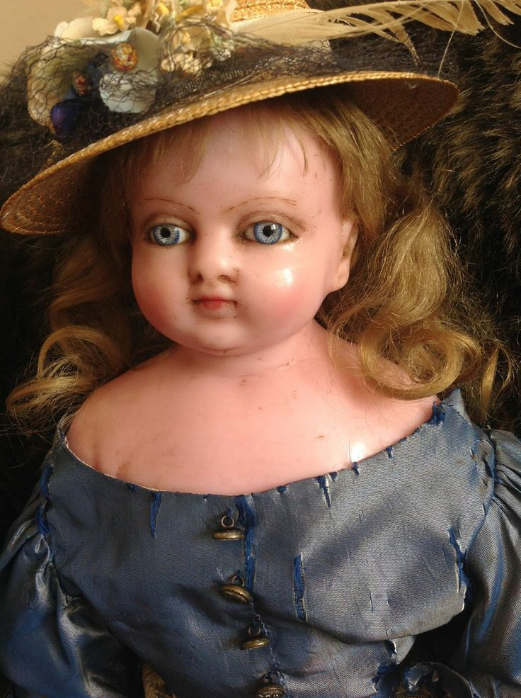 Attic condition large antique English poured wax doll in Victorian blue silk ruffled dress