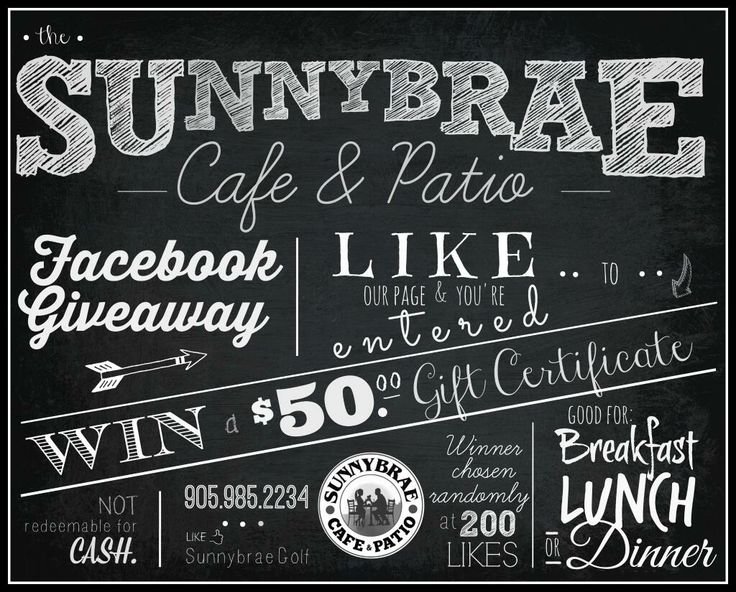 Come enter our Facebook giveaway! Win a $50 gift certificate to the Sunnybrae Cafe & Patio! https://www.facebook.com/photo.php?fbid=794506910559867&set=a.771663466177545.1073741829.741937269150165&type=1&theater