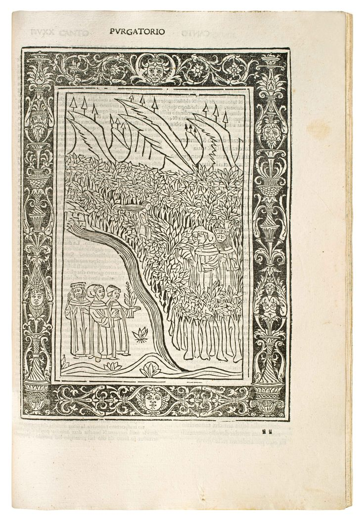 First Brescia edition of the Divine Comedy, Dante's major work. Commentary by Cristoforo Landino. Moreover, the first edition with woodcut illustration. The first 19 woodcuts are modelled after Botticelli's engravings in the 1481 edition.