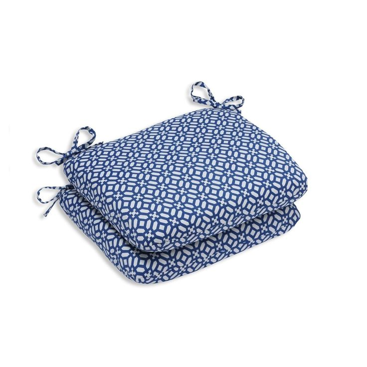 """Set of Two """"Royal Opulence """" Royal Blue and Pearl White Rounded Corners Seat Cushions 18.5"""""""