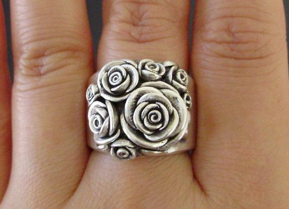 A Bouquet of Roses - Handsculpted, Cast Sterling Silver Wide-Band Ring - MADE TO ORDER