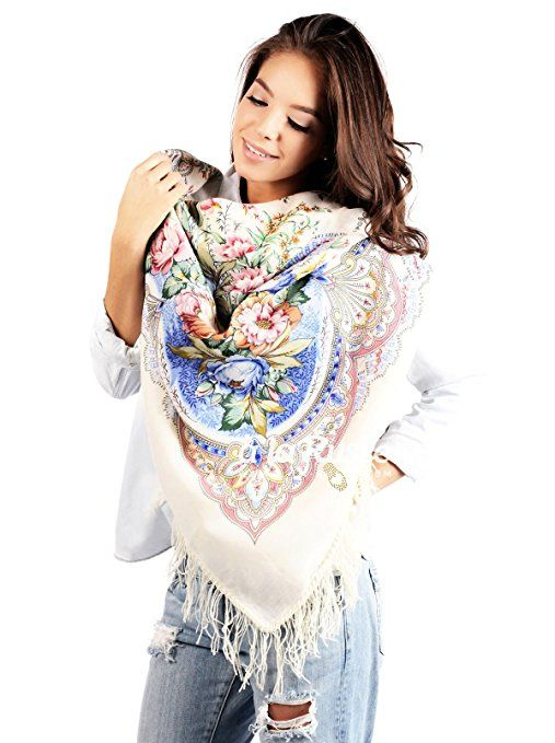 Russischer Schal Tuch LJUBOV in weiß und blau 100% Wolle, mit Paisley und Blumen, mit Fransen, hochwertige Stola - 100% Original, hohe Qualität