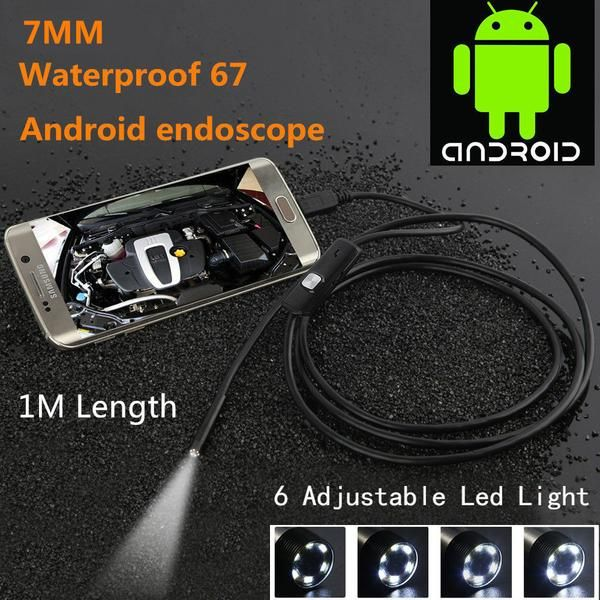 For getting a look at those tight spaces where the sun don't shine!   Supported Operating Systems: Windows 7,Windows Vista,Windows 8,Windows XP High Definition: 480P(SD) Video Compression Format: H.264 Supported Mobile Systems: Android Dimensions (L x W x D)(mm): 1M Special Features: Waterproof / Weatherproof Power Supply(V): 5V Lens (mm): 7mm  Package Includes: USB Endoscope, small hook, side audition, cd, micro to USB cable, user manual