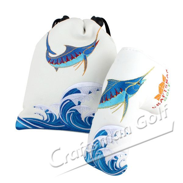 Blue Fish Sea Wave Golf Leather Drawstring Pouch &  Putter Covers - Craftsman Golf Design