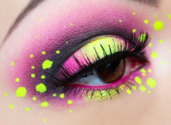 Pink with neon yellow dots.