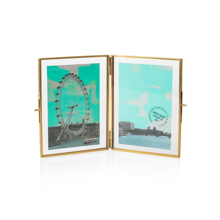 Mix your materials with our handcrafted antique-look, gold and glass double portrait frame with bespoke London scene frame inserts.
