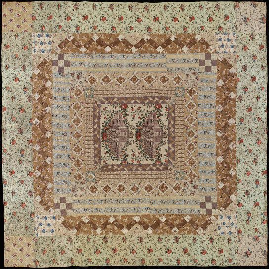 Quilted patchwork bed cover, England, ca. 1838. l Victoria and Albert Museum #Quilting