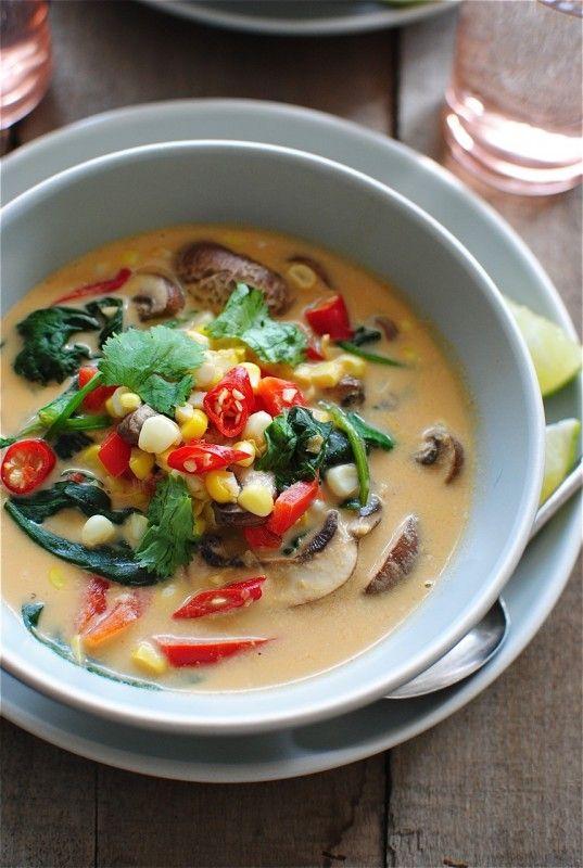 Thai Coconut Corn and Mushroom Soup | One Word: FOOD. | Pinterest