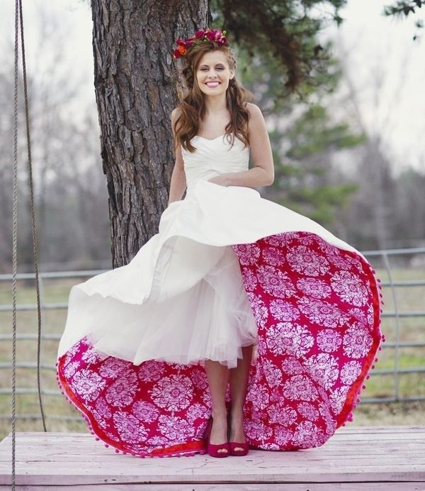 Add an unexpected traditional touch to wedding gown for your fiesta themed special day.