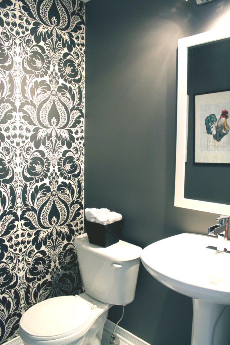 bathroom damask accent wall Google Search Wallpaper