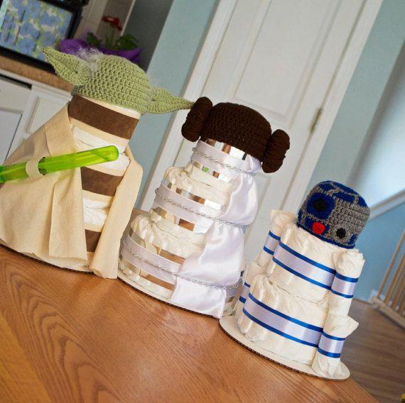 Star Wars Baby Shower Decorations Or Centerpiece   Diaper Cakes   Yoda,  R2D2, Princess Leia, Centerpieces   Newborn Hats   Star Wars Nursery | Baby  Shower ...