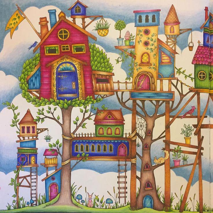 Enchantedforest Enchantedforestcoloringbook Johannabasford Adultcoloringbook Coloringtherapy Adultcoloring Prismacolor