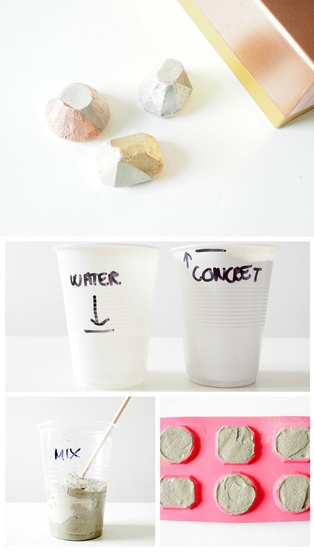Cool Homemade Craft Projects with Ice Cube Trays | DIY Concrete Paper Weights by DIY Ready at http://diyready.com/14-unexpected-ways-to-use-an-ice-cube-tray/
