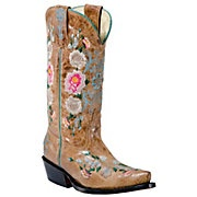 cute kids cowboy boots ~ tan Anderson Bean® Macie Bean™ Kid's Tan Mad Cat Floral Embroidered Snip Toe Boots