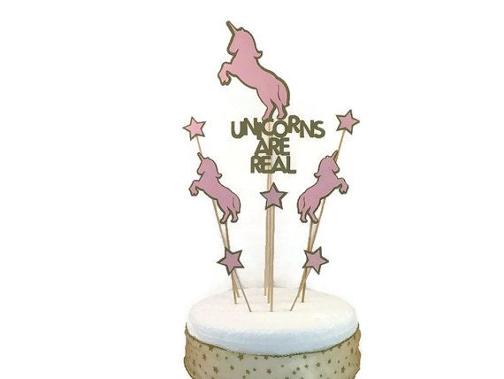 Bling up your unicorn themed party with an eye catching cake topper