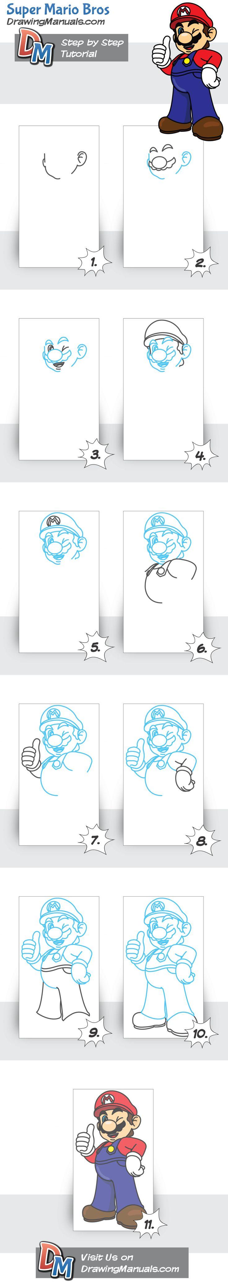 How to Draw Super Mario Bros from Nintendo http://drawingmanuals.com/manual/how-to-draw-super-mario-bros-nintendo/