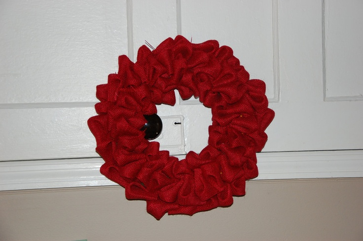 Red burlap wreath for Christmas