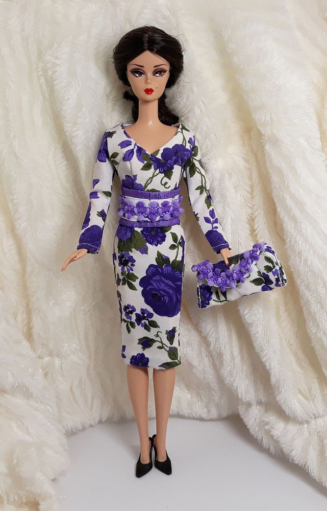Purple Vintage style Gown Dress Outfit Coat Bag For Silkstone Fashion Royalty FR