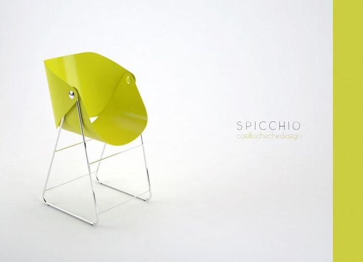 Spicchio è una sedia, ampia ed avvolgente. E' facile da assemblare ed è realizzata con fogli di acciaio piegato, fissati ad una struttura in tubolare di acciaio cromato.