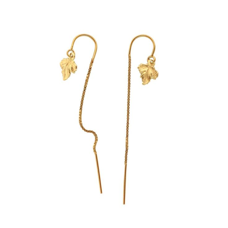 Gold leaf chain earrings - dainty gold filled