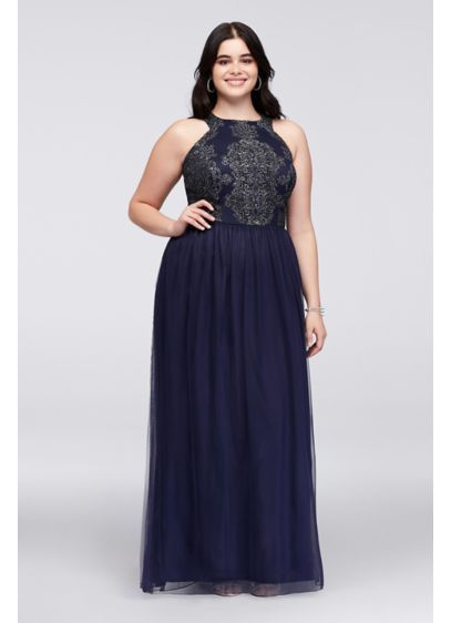 a1072cabca3d9 Caviar Beaded Tulle Plus Size Gown with Open Back W35691TGQ