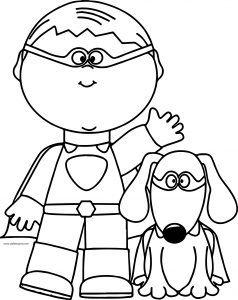 Süpermen çocuk Ve Süpermen Köpek Boyama Sayfası Süpermen çocuk Ve
