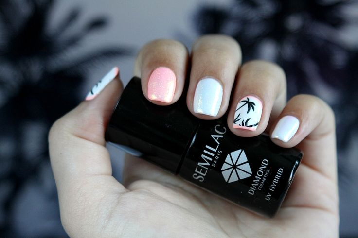 S Y L V E S T R R A * : Semilac & Indigo: Palm Tree Nails with Marmaid Effect