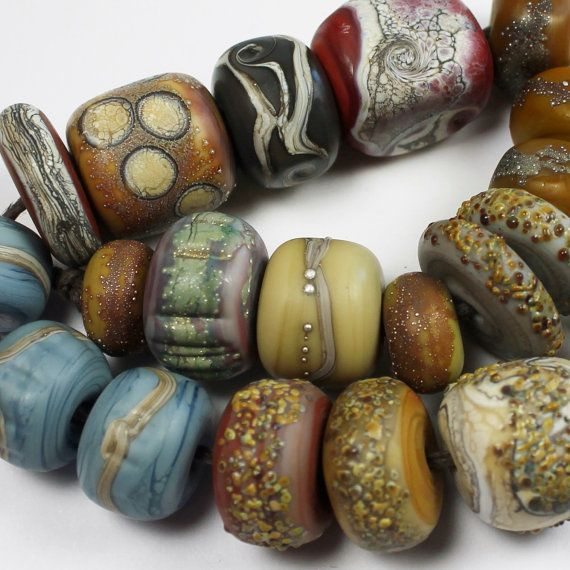lampwork glass beads set sra matte etched by