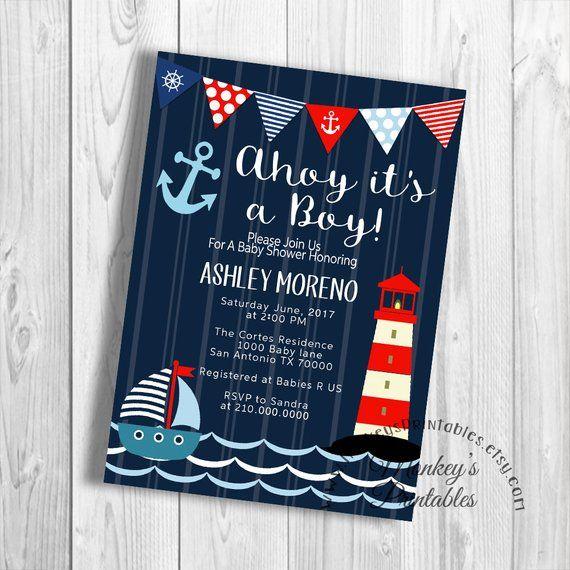 Nautical Baby Shower Invitation Ahoy It S A Boy Digital Invite Sailor Anchor Lighthouse P