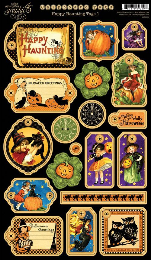 Happy Haunting Chipboard Tags 1! #graphic45...love these for halloween books