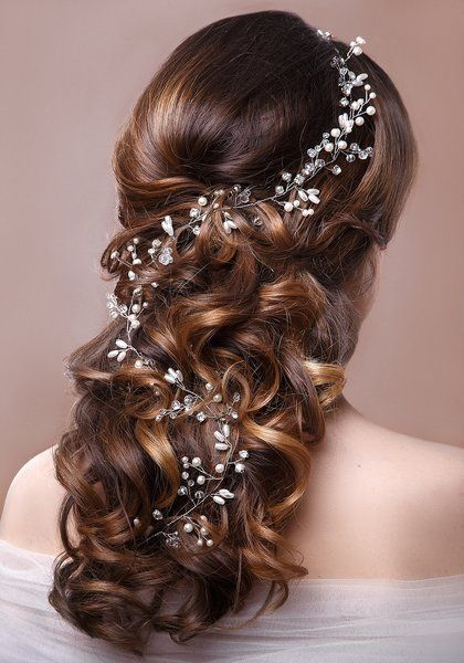 Milana,pearl and crystal bridal hair vine | GLITZYBRIDES