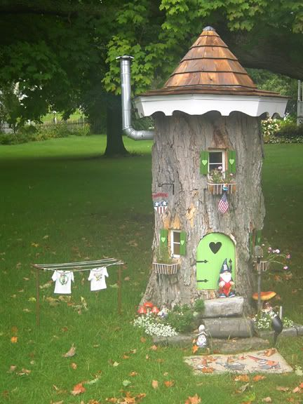 A little bit ago I posted pics of a Gnome house that was built in a tree stump. The other day I took a couple other photos. I thought that if anyone was inspired to do something similar, or at least just wanted to see how it was updated recently would want to see this.   I don't…