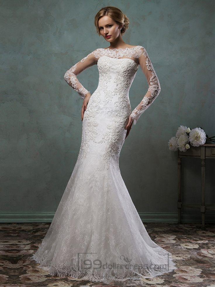 Long Sleeves Mermaid Lace Wedding Dresses