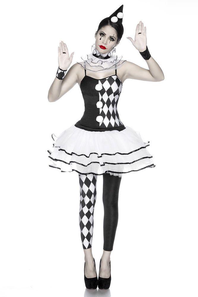 5 Tlg. Harlekinkostüm Schwarz Weiß Harlekin Für Damen Kostüm Clown Karo Gr:OS