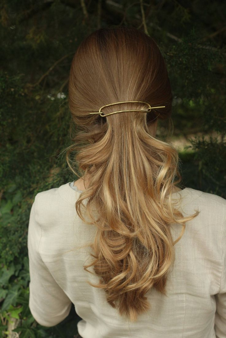 Minimalist brass hair slide pony tail holder large hair barrette rustic copper hair clip metal hair accessories updo hair barrette for her by Kapelika on Etsy https://www.etsy.com/listing/162731060/minimalist-brass-hair-slide-pony-tail