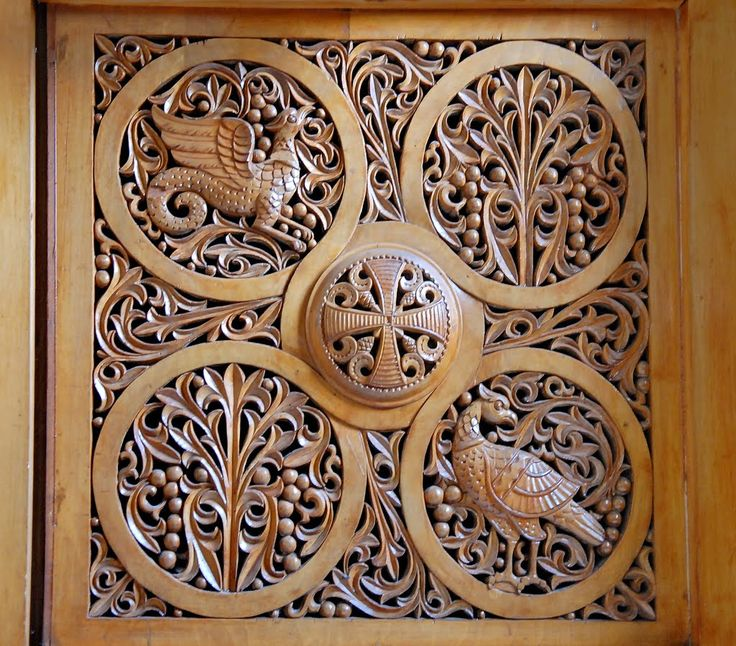 Jerusalem.                  Greek Orthodox Church of St. Stephen Protomartyr. Art of wood carving