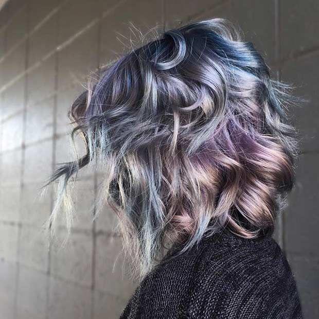 Blue and Purple Metallic Bob Hairstyle