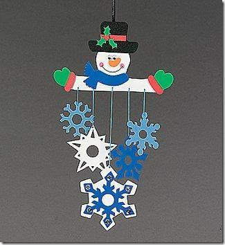 Manualidades. Móvil muñeco de nieve con copos de nieve