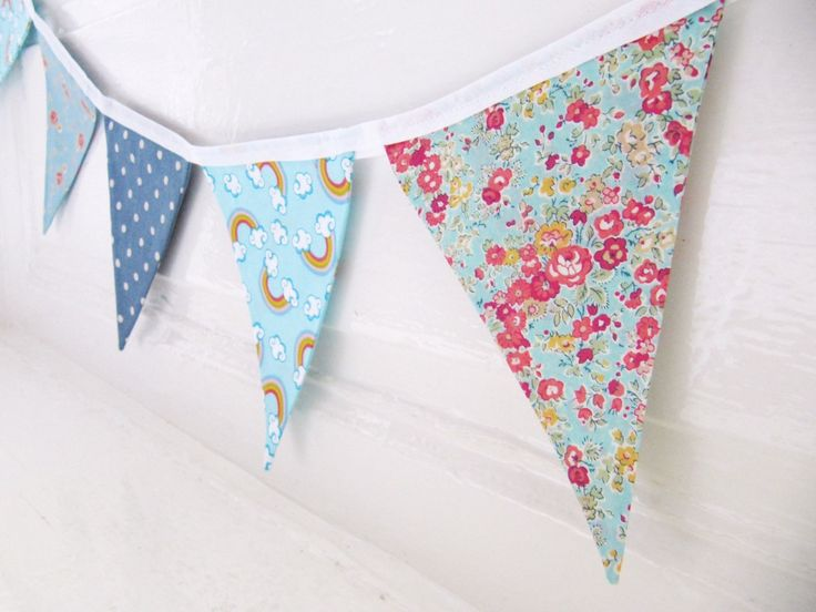 Lovely Cotton Fabric Bunting Blue Mixed by LilyLovesShopping