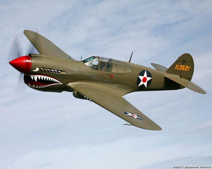 The Curtiss P-40 was the United States' best fighter available in large numbers when World War II began
