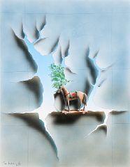 Thor Lindeneg: Komposition med hest. Akvarel på papir. 60 x 45. Vurdering: 5000,-