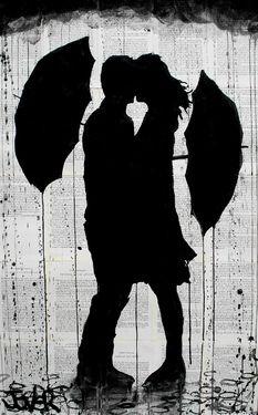 """Saatchi Online Artist Loui Jover; Drawing, """"umbrellas (SOLD)"""" #art"""