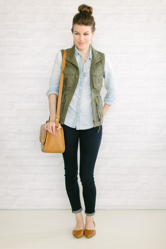 Vest or jacket with drawstring waist to add definition.
