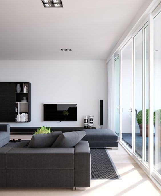 Minimalist Living Room Modern Decor Hanging Your TV On The Wall And Ditching