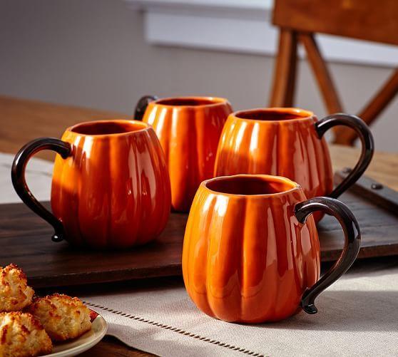 Pumpkin Mug, Set of 4   Pottery Barn * Two of my favorite things: PB and mugs!