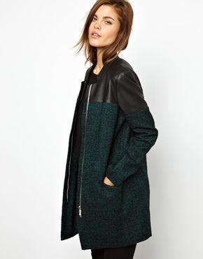 Karen Millen Wool and Faux Leather Coat